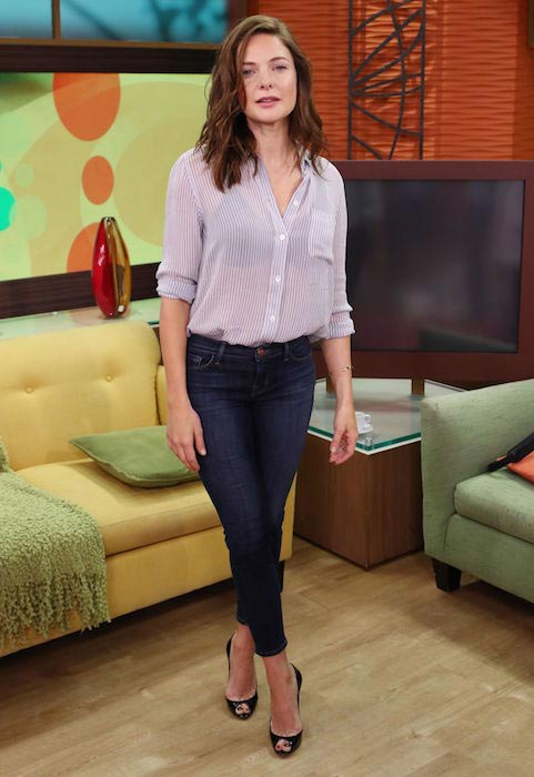 Rebecca Ferguson on the set of Despierta America in Miami in July 2015