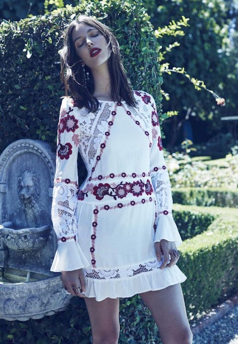 Ruby Aldridge posing for Love and Lemons Amore Mia 2016