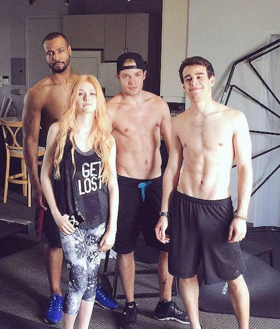 Shadowhunters co-stars Isaiah Mustafa, Dominic Sherwood, Alberto Rosende, and Katherine McNamara