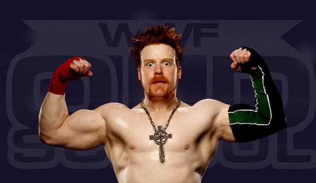 Sheamus showing his biceps and triceps