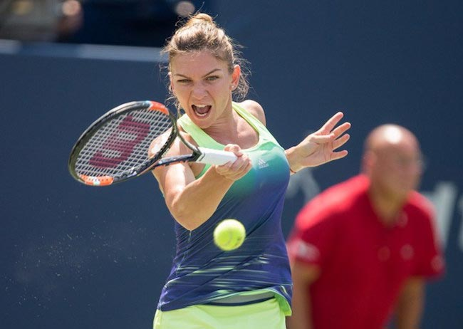 Simona Halep playing a shot