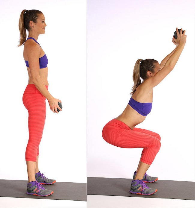 Squat Pushes weight overhead