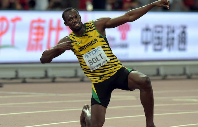 Usain Bolt celebrating his victory after a match win