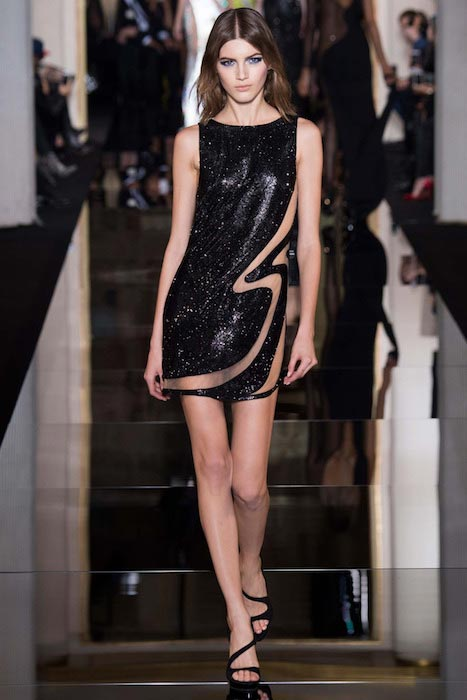 Valery Kaufman walking for Atelier Versace during Spring / Summer 2015 Fashion Show