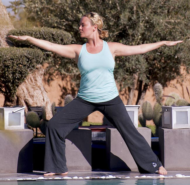 Charlie Brooks doing Yoga during her bootcamp