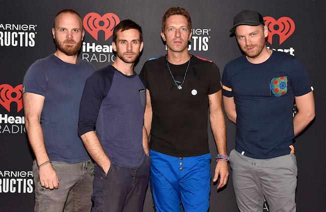 Coldplay members Will Champion, Guy Berryman, Chris Martin and Jonny Buckland at 2015 iHeartRadio Music Festival