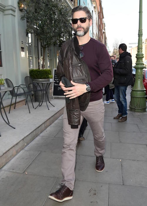 Eric Bana leaving the Charlotte Street Hotel on April 2, 2015 in London