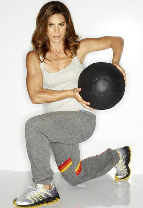 Jillian Michaels working out using ball