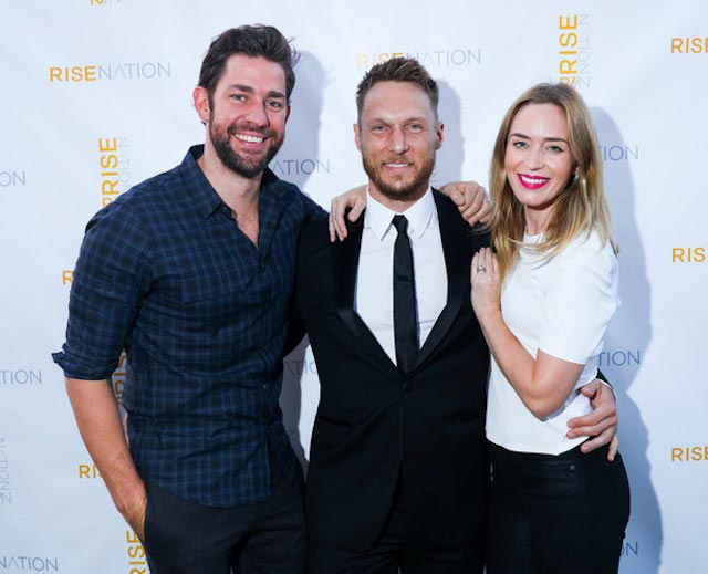 John Krasinski and wife Emily Blunt with celebrity trainer, Jason Walsh