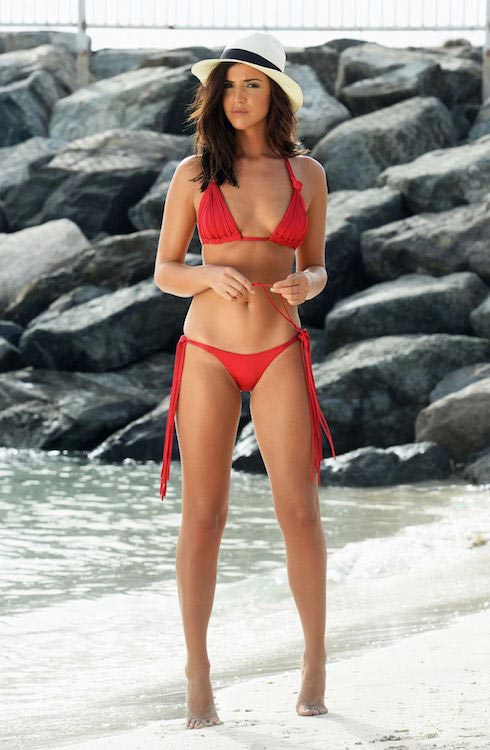Lucy Mecklenburgh in red bikini during a photoshoot on a Beach in Dubai in June 2015