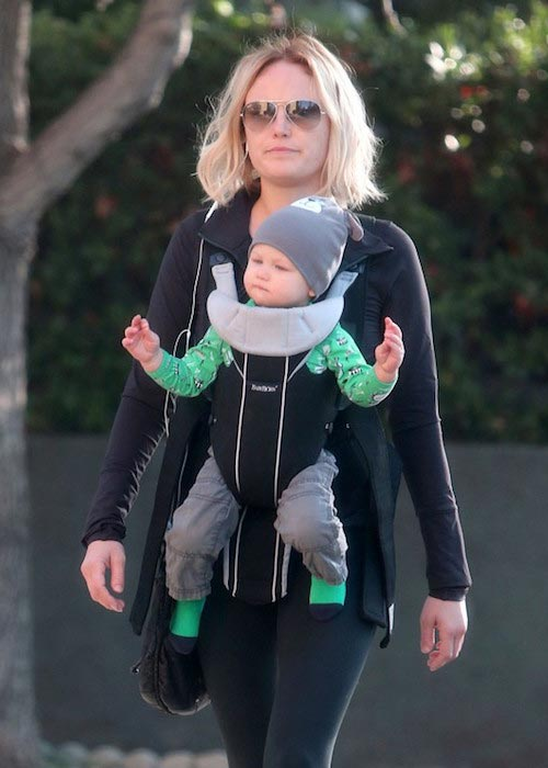 Malin Akerman going for a workout with the cutest workout accessory - her son Sebastian