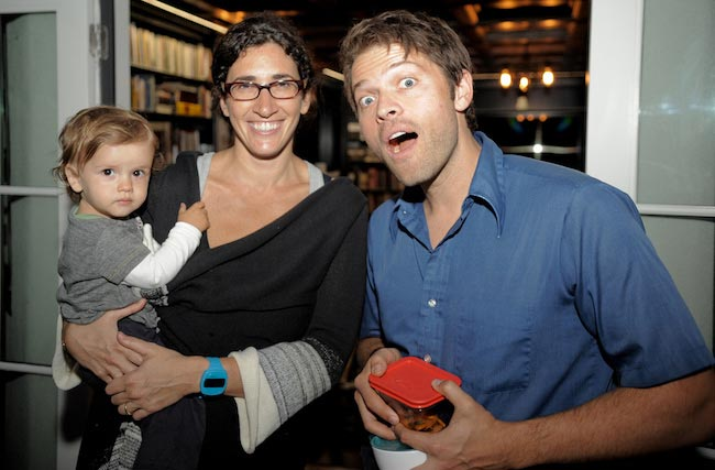 Misha Collins with his wife Victoria Vantoch and their child