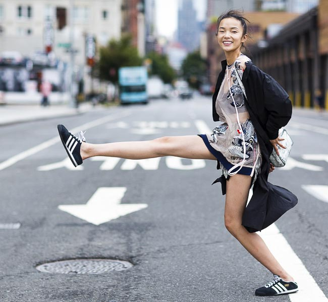 Xiao Wen Ju street style during Mercedes Benz New York Fashion Week Spring Summer 2015