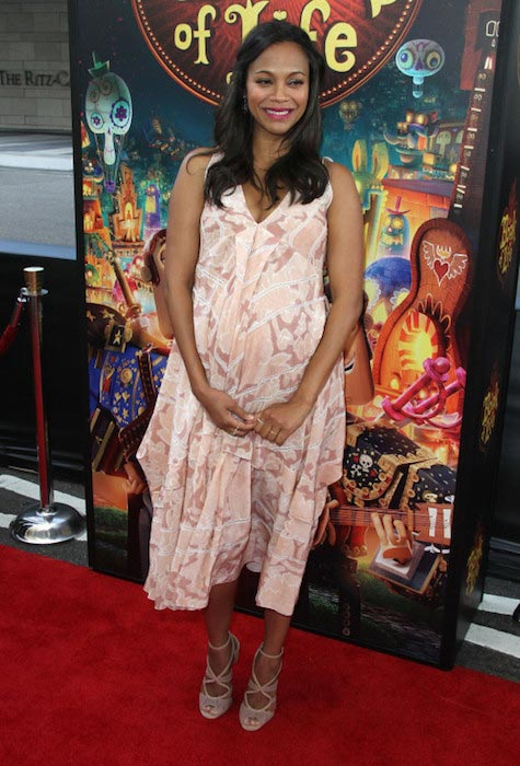 "Zoe Saldana attends the premiere of ""The Book of Life"" in Los Angeles in October 2014 just a few weeks before birthing"