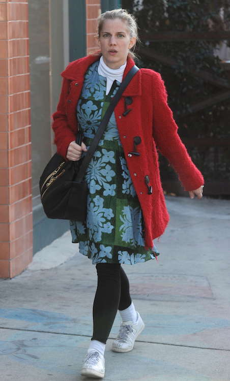 Anna Chlumsky in floral dress out in Beverly Hills in January 2016