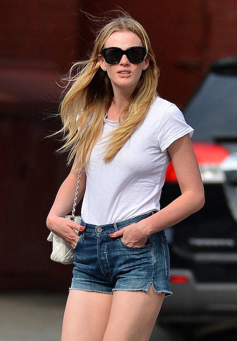 Anne Vyalitsyna in jeans shorts out in New York in May 2014