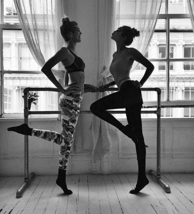 Ballet babes and workout buddies, Devon Windsor and Gigi Hadid train at Ballet Beautiful