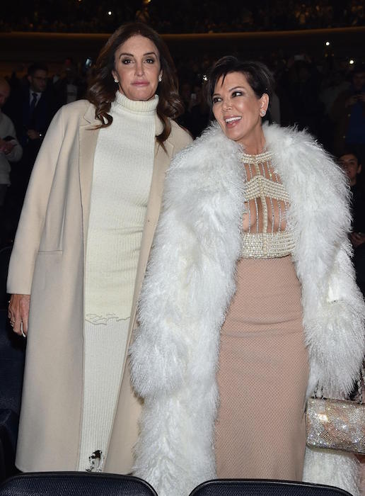 Caitlyn Jenner (Left) and Kris Jenner during Kanye West Yeezy Season 3 in February 2016
