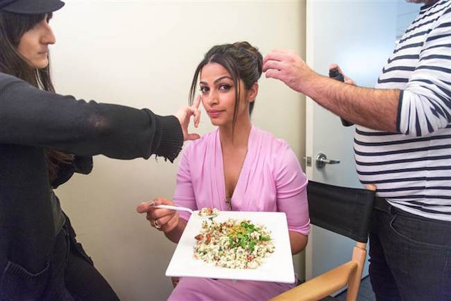 Camila Alves eating food