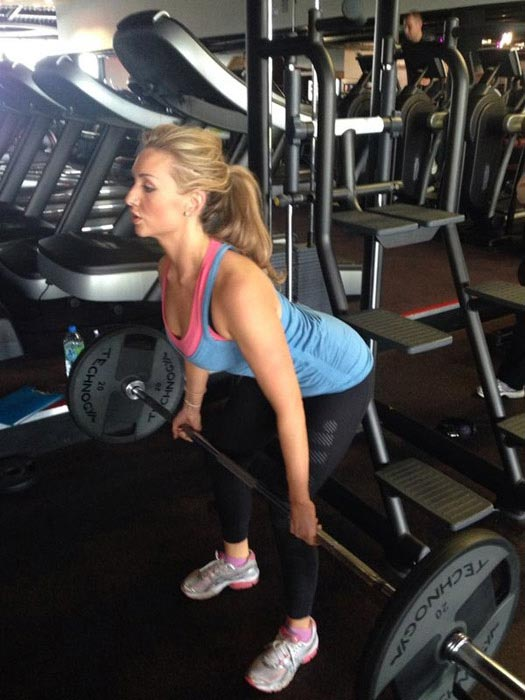 Catherine Tyldesley doing deadlift in the gym