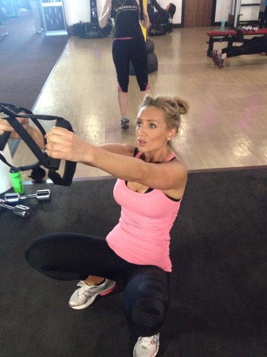 Catherine Tyldesley working out