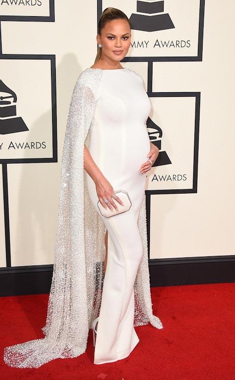 Chrissy Teigen during 2016 Grammy Awards