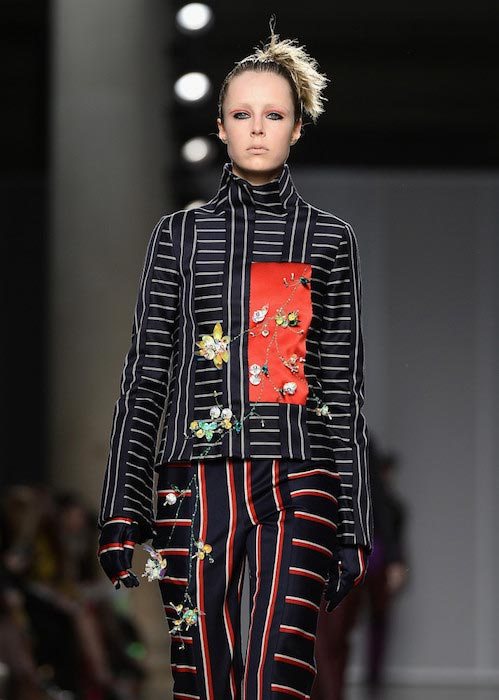 Edie Campbell walking at the London Fashion Week Autumn Winter 2016/17 for the AV Robertson Fashion East show
