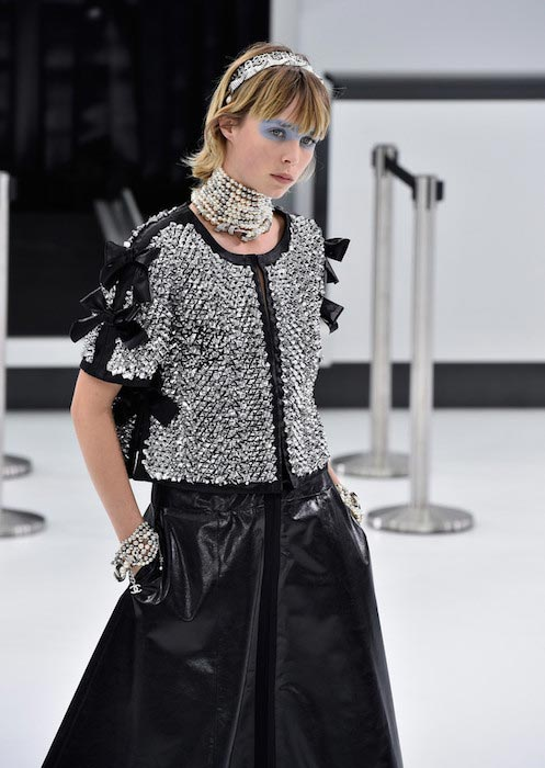 Edie Campbell walking the runway during Paris Fashion Week Womenswear Spring Summer 2016 for Chanel