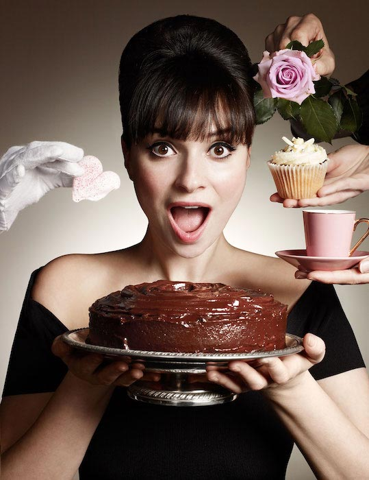 Gizzi Erskine with Chocolate cake