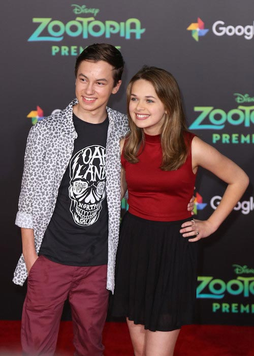 Actors Hayden Byerly and Alyssa Jirrels at 'Zootopia' premiere in February 2016