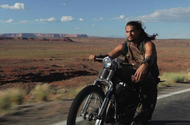 Jason Momoa riding a motorcycle