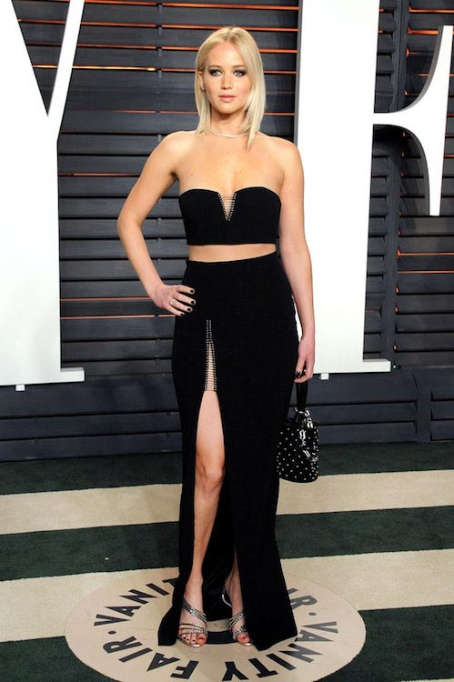 Jennifer Lawrence shows off her legs at the Vanity Fair Oscars 2016 party