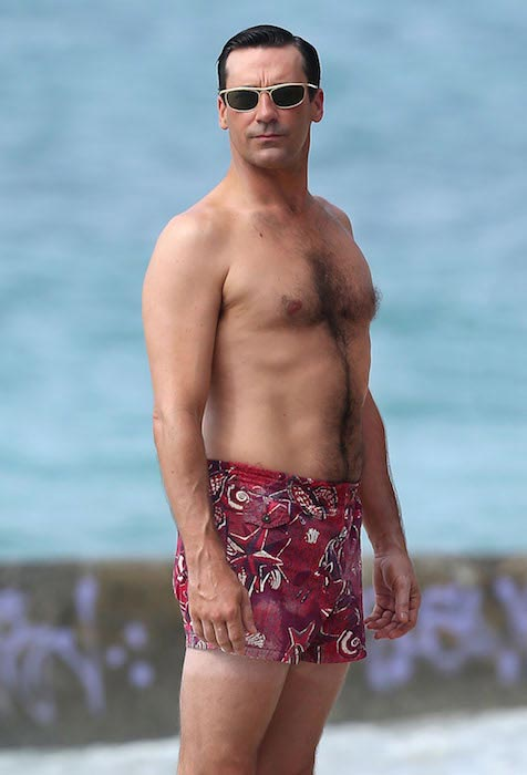"Jon Hamm shirtless during the filming of ""Mad Men"""