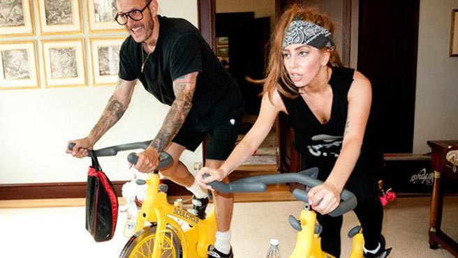 Singer Lady Gaga with photographer Terry Richardson at SoulCycle