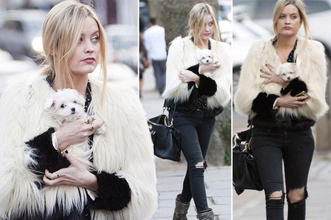 Laura Whitmore walking her dog Mick