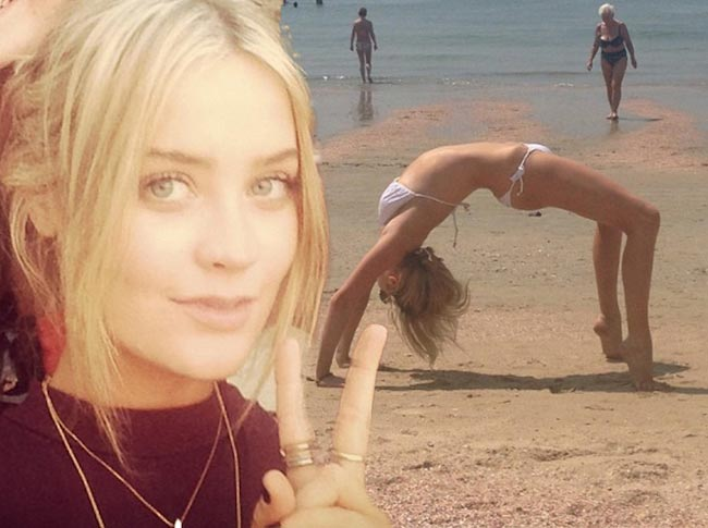 Laura Whitmore yoga pose