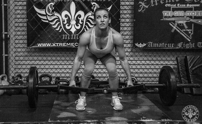 Miesha Tate doing deadlift
