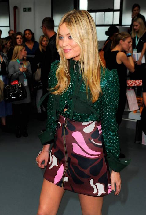 Presenter Laura Whitmore attends the Fyodor Golan show during London Fashion Week Spring / Summer 2016