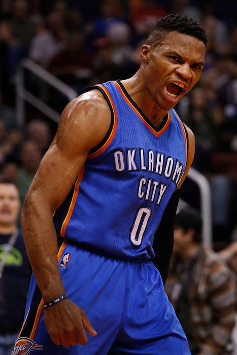 Russell Westbrook's reaction after he dunked against Phoenix Suns on February 8, 2016 in Phoenix, Arizona