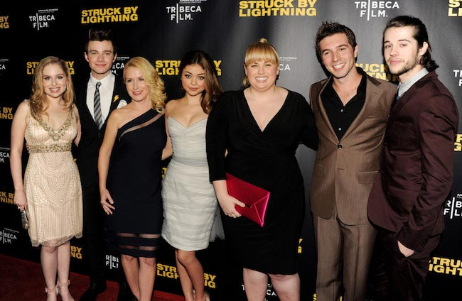 """Allie Grant (Extreme Left) with other actors at the screening of """"Struck By Lightning"""" in 2013"""