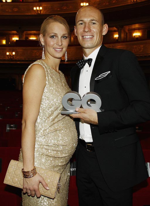 Arjen Robben with his beloved wife Bernadien at 2011 GQ Man Of The Year Award