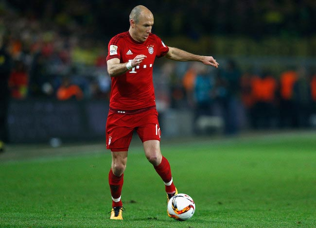 Arjen Robben in action against Borussia Dortmund at Signal Iduna Park on March 5, 2016 in Dortmund, Germany