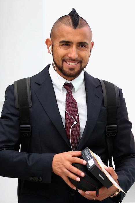 Arturo Vidal at Munich International Airport Franz-Josef-Strauss waiting for his team's flight to Turin on February 22, 2016 in Munich, Germany