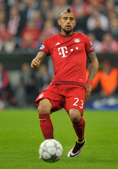 Arturo Vidal in action during the game between FC Bayern Munich and SL Benfica at Allianz Arena on April 5, 2016 in Munich, Germany