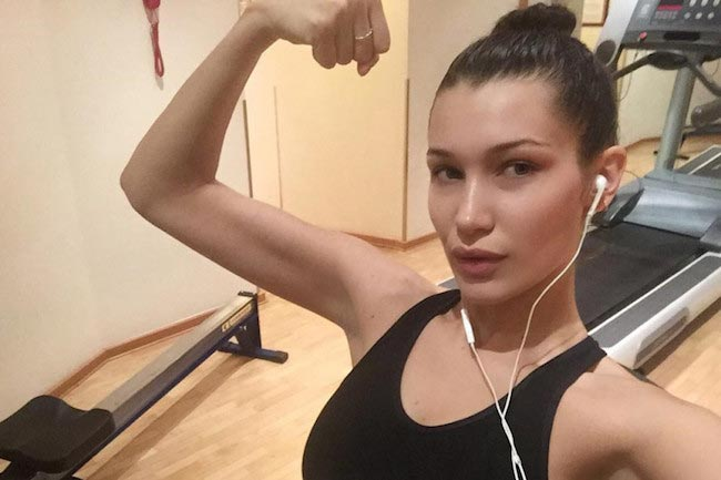 Bella Hadid showing her biceps