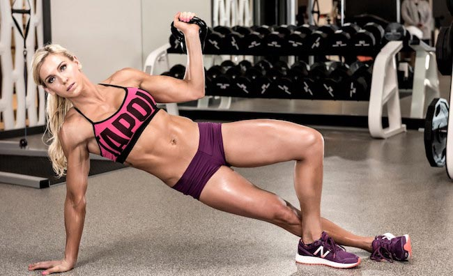 WWE Diva Charlotte working out with kettlebell