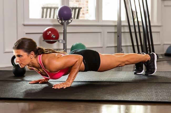 Danica Patrick doing push-ups