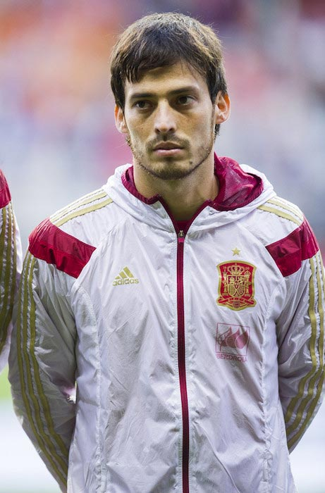 David Silva listening the intonation of the Spanish anthem during a match between Spain and Slovakia on September 5, 2015 in Oviedo, Spain