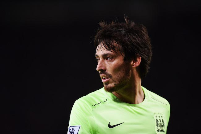 David Silva during a match between Manchester City and Leicester City on December 29, 2015 in Leicester, England