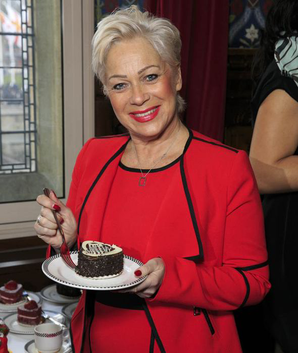 Denise Welch with sweets earlier. We bet she is not indulging like this now